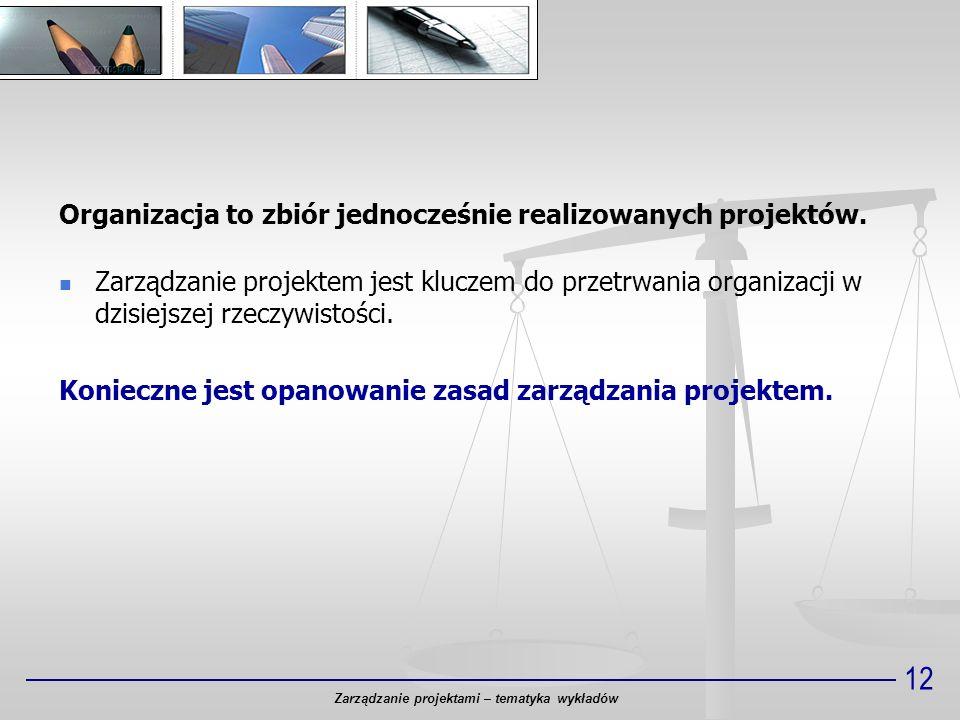 12 Organizacja to zbiór jednocześnie realizowanych projektów. Zarządzanie projektem jest kluczem do przetrwania organizacji w dzisiejszej rzeczywistoś