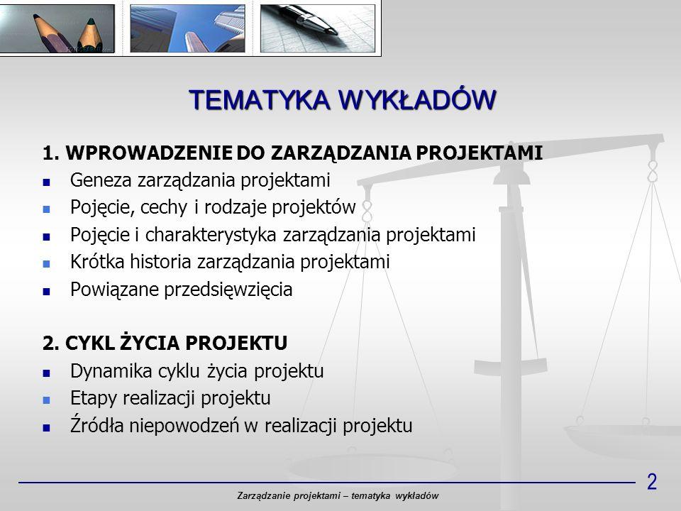 TEMATYKA WYKŁADÓW Zarządzanie projektami – tematyka wykładów 2 1. WPROWADZENIE DO ZARZĄDZANIA PROJEKTAMI Geneza zarządzania projektami Pojęcie, cechy