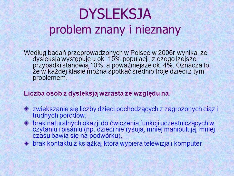 Jestem rodzicem dziecka z dysleksją informacje i wskazówki do pracy { M. Bogdanowicz, R. Czabaj: Jestem rodzicem dziecka z dysleksją, Gdynia 2006, PTD