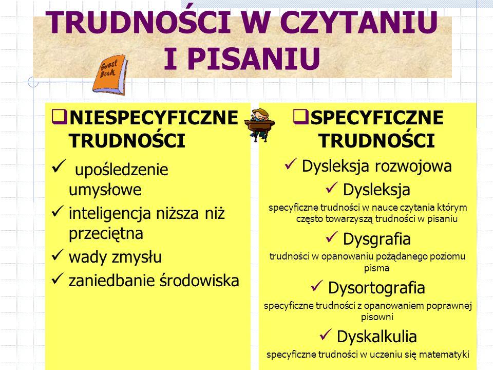 Dysleksja rozwojowa SPECYFICZNE TRUDNOŚCI W CZYTANIU I PISANIU