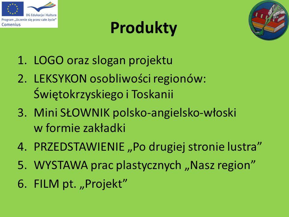 Produkty 1.LOGO oraz slogan projektu 2.LEKSYKON osobliwości regionów: Świętokrzyskiego i Toskanii 3.Mini SŁOWNIK polsko-angielsko-włoski w formie zakł