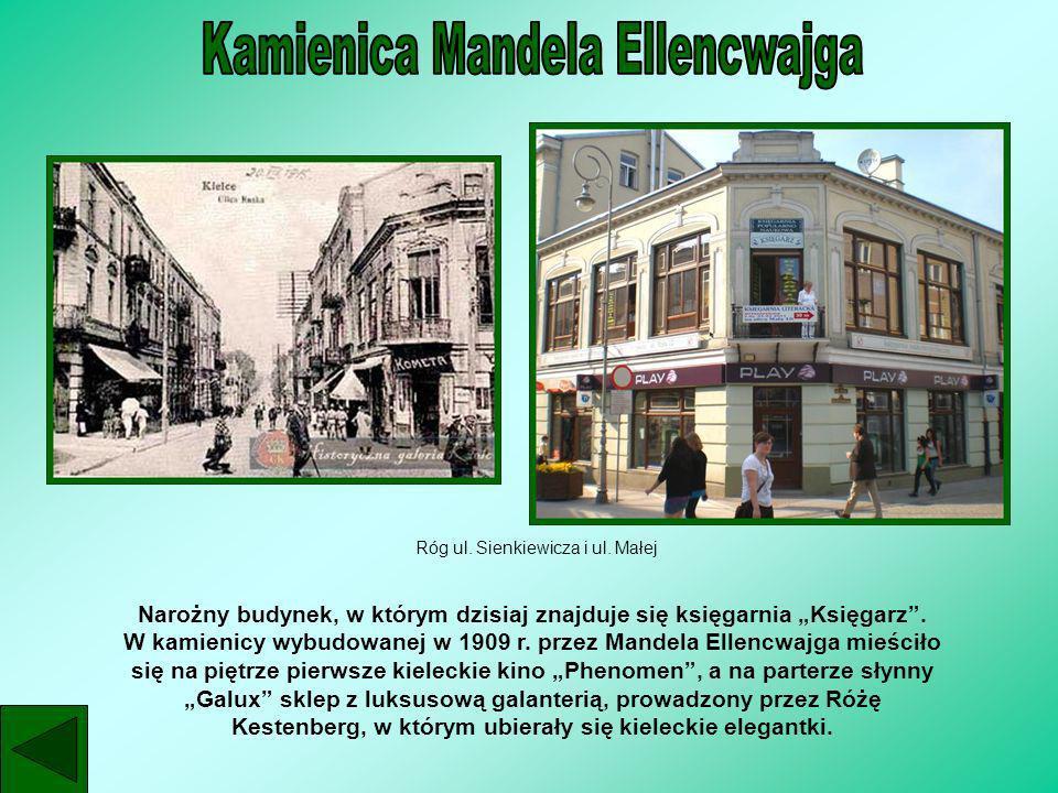Róg ul. Sienkiewicza i ul. Małej Narożny budynek, w którym dzisiaj znajduje się księgarnia Księgarz. W kamienicy wybudowanej w 1909 r. przez Mandela E