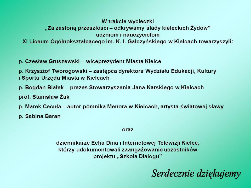 W trakcie wycieczki Za zasłoną przeszłości – odkrywamy ślady kieleckich Żydów uczniom i nauczycielom XI Liceum Ogólnokształcącego im. K. I. Gałczyński