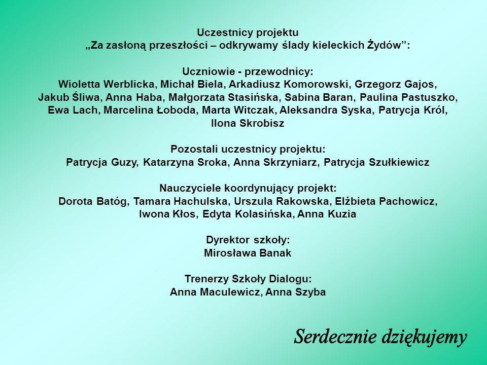 Uczestnicy projektu Za zasłoną przeszłości – odkrywamy ślady kieleckich Żydów: Uczniowie - przewodnicy: Wioletta Werblicka, Michał Biela, Arkadiusz Ko