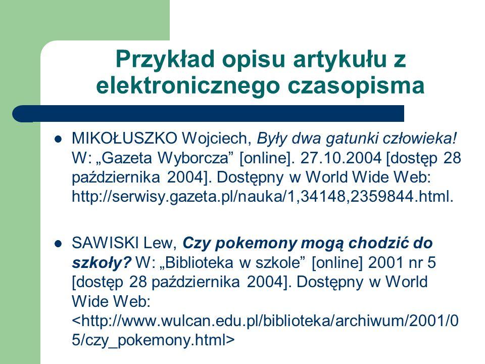 Przykład opisu fragmentu elektronicznej książki KOPALIŃSKI, Władysław. Wielki multimedialny słownik Władysława Kopalińskiego [CD-ROM]. Wersja 1.00.000