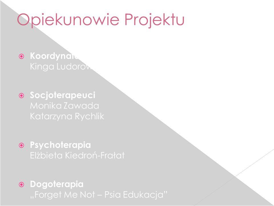 Opiekunowie Projektu Koordynator projektu Kinga Ludorowska Socjoterapeuci Monika Zawada Katarzyna Rychlik Psychoterapia Elżbieta Kiedroń-Frałat Dogote