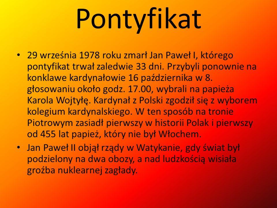 Pontyfikat 29 września 1978 roku zmarł Jan Paweł I, którego pontyfikat trwał zaledwie 33 dni. Przybyli ponownie na konklawe kardynałowie 16 październi