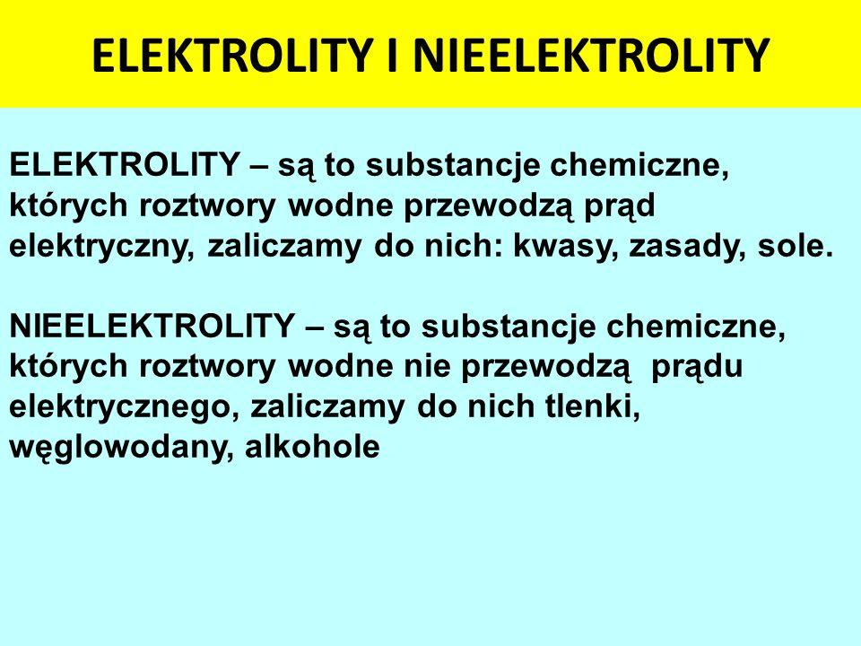 ELEKTROLITY I NIEELEKTROLITY ELEKTROLITY – są to substancje chemiczne, których roztwory wodne przewodzą prąd elektryczny, zaliczamy do nich: kwasy, za