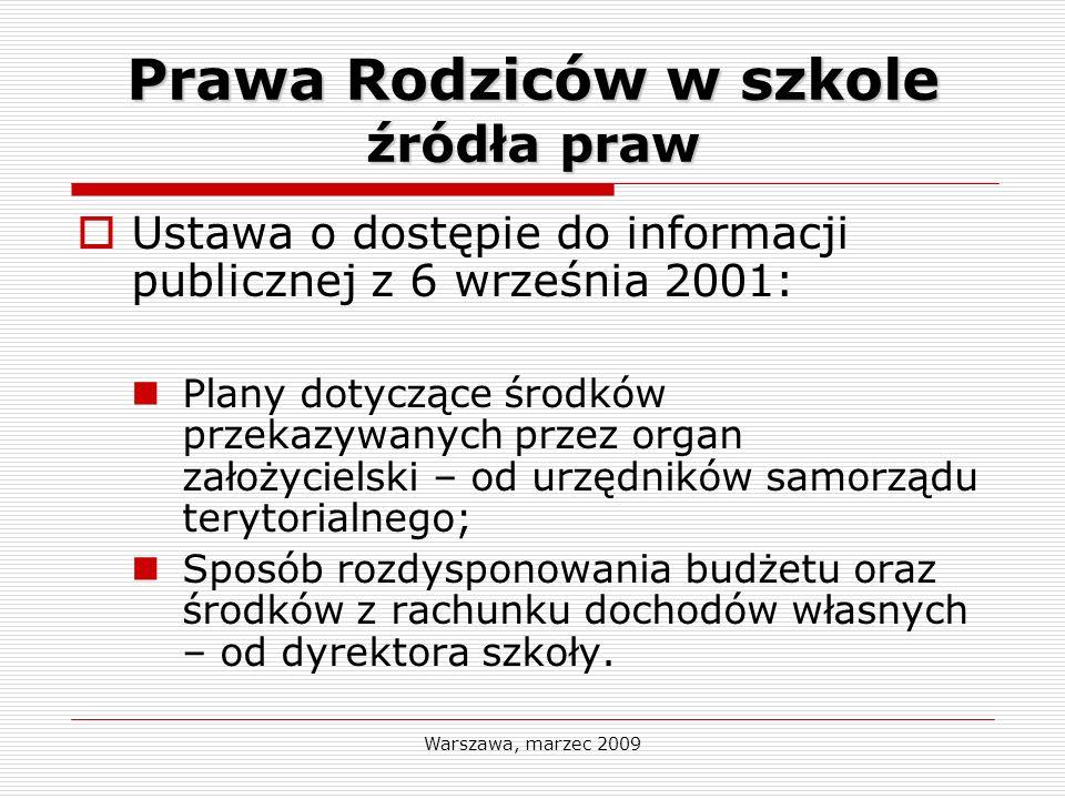 Warszawa, marzec 2009 Prawa Rodziców w szkole źródła praw Ustawa o dostępie do informacji publicznej z 6 września 2001: Plany dotyczące środków przeka