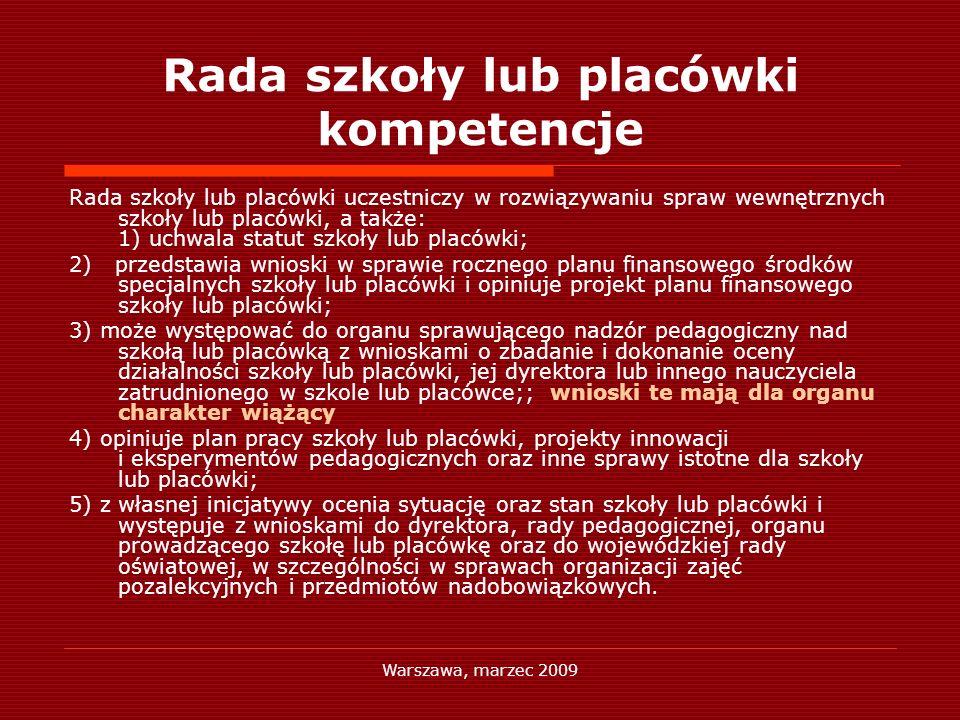 Warszawa, marzec 2009 Rada szkoły lub placówki kompetencje Rada szkoły lub placówki uczestniczy w rozwiązywaniu spraw wewnętrznych szkoły lub placówki