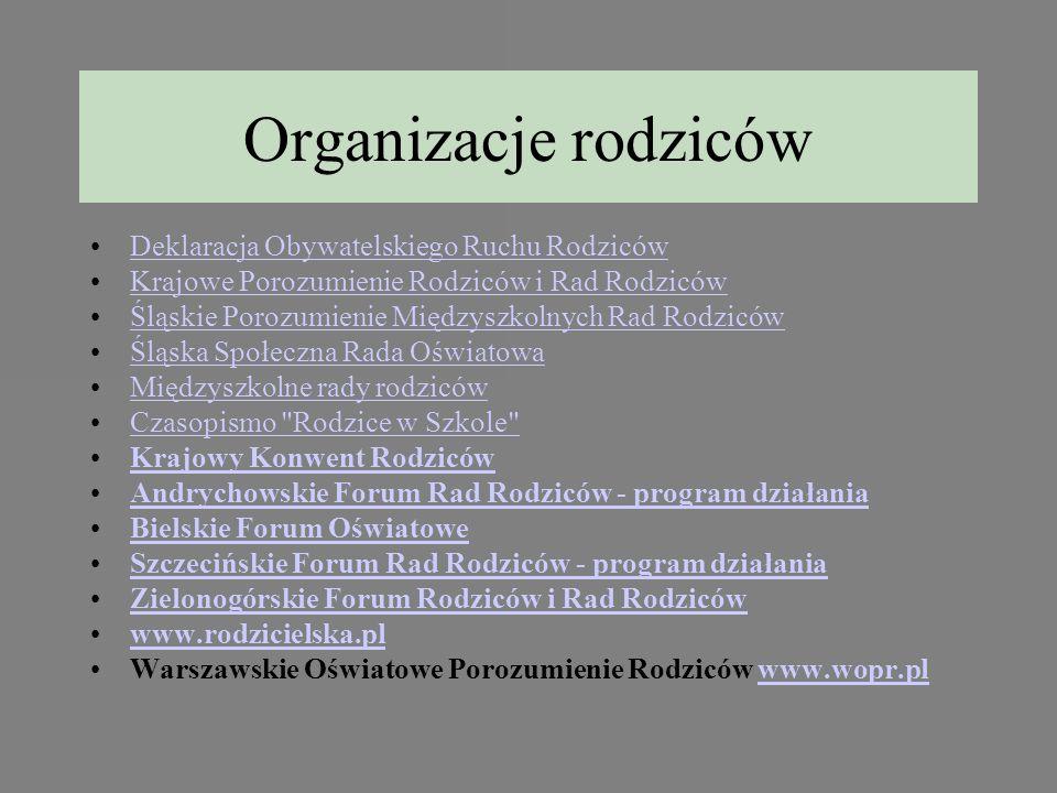 Organizacje rodziców Deklaracja Obywatelskiego Ruchu Rodziców Krajowe Porozumienie Rodziców i Rad Rodziców Śląskie Porozumienie Międzyszkolnych Rad Ro