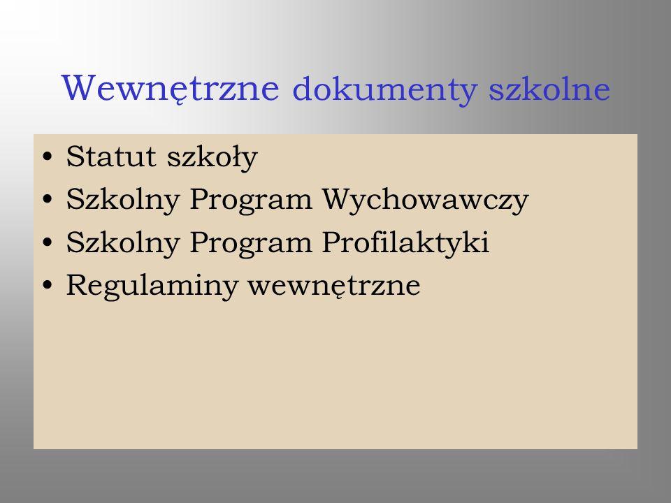 Wewnętrzne dokumenty szkolne Statut szkoły Szkolny Program Wychowawczy Szkolny Program Profilaktyki Regulaminy wewnętrzne