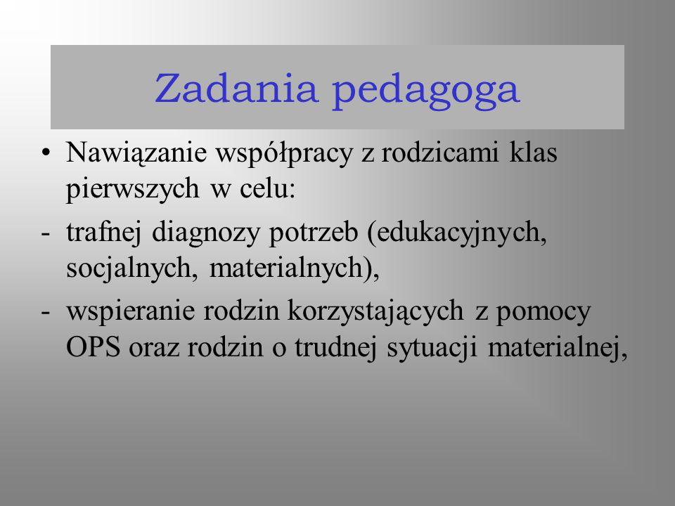 Zadania pedagoga Nawiązanie współpracy z rodzicami klas pierwszych w celu: -trafnej diagnozy potrzeb (edukacyjnych, socjalnych, materialnych), -wspier