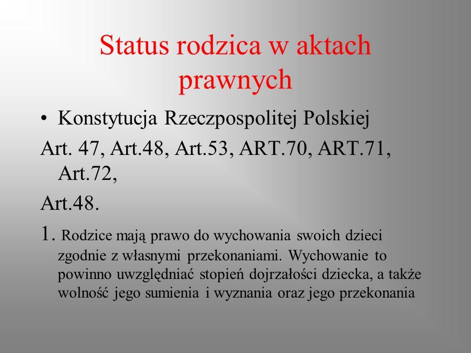 Status rodzica w aktach prawnych Konstytucja Rzeczpospolitej Polskiej Art. 47, Art.48, Art.53, ART.70, ART.71, Art.72, Art.48. 1. Rodzice mają prawo d