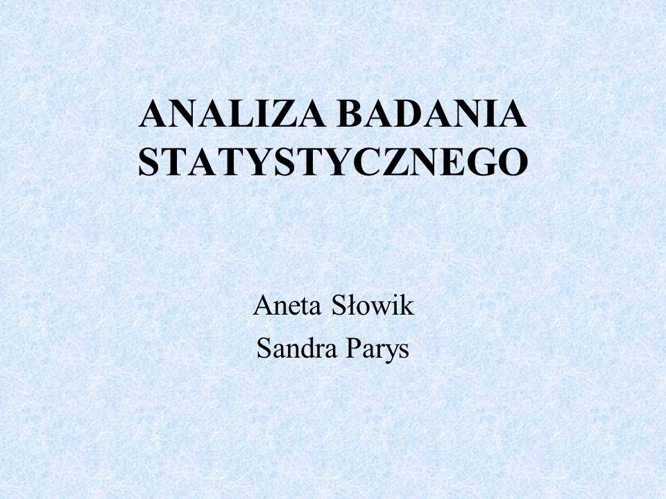 ANALIZA BADANIA STATYSTYCZNEGO Aneta Słowik Sandra Parys