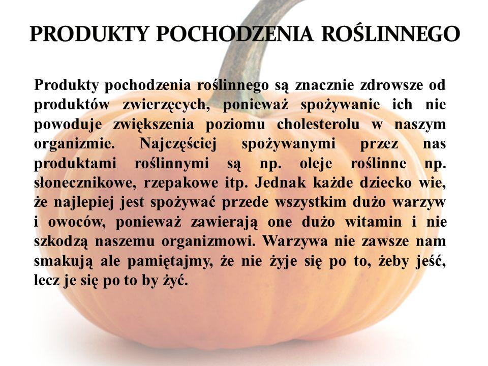 Produkty pochodzenia roślinnego są znacznie zdrowsze od produktów zwierzęcych, ponieważ spożywanie ich nie powoduje zwiększenia poziomu cholesterolu w naszym organizmie.
