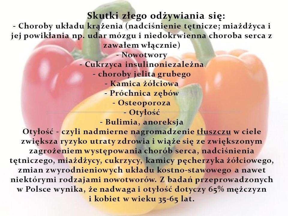 Skutki złego odżywiania się: - Choroby układu krążenia (nadciśnienie tętnicze; miażdżyca i jej powikłania np.