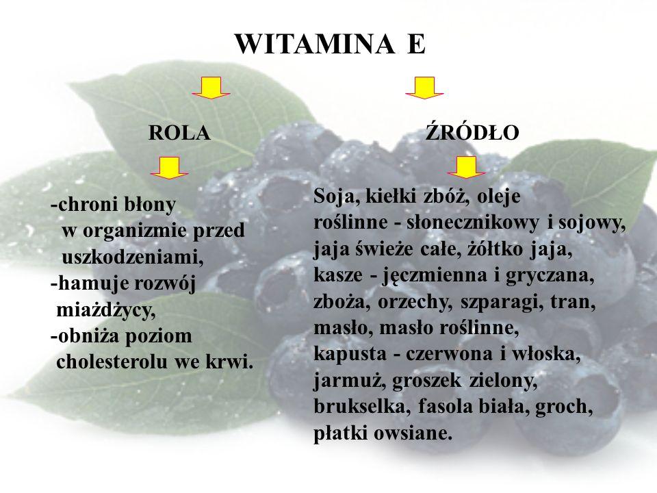 WITAMINA E ROLA ŹRÓDŁO -chroni błony w organizmie przed uszkodzeniami, -hamuje rozwój miażdżycy, -obniża poziom cholesterolu we krwi.