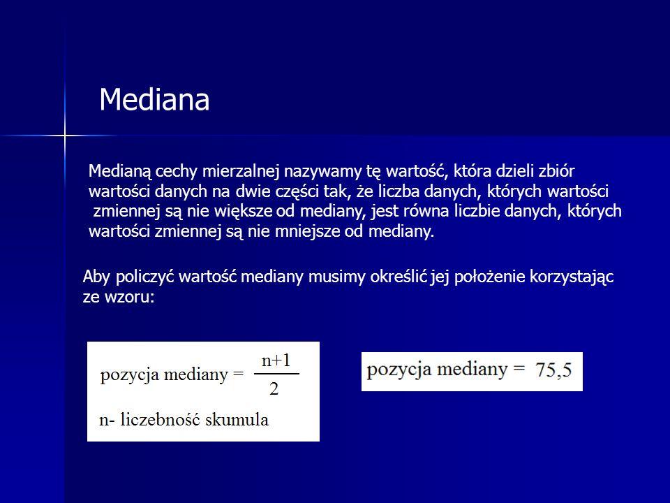 Mediana Aby policzyć wartość mediany musimy określić jej położenie korzystając ze wzoru: Medianą cechy mierzalnej nazywamy tę wartość, która dzieli zbiór wartości danych na dwie części tak, że liczba danych, których wartości zmiennej są nie większe od mediany, jest równa liczbie danych, których wartości zmiennej są nie mniejsze od mediany.