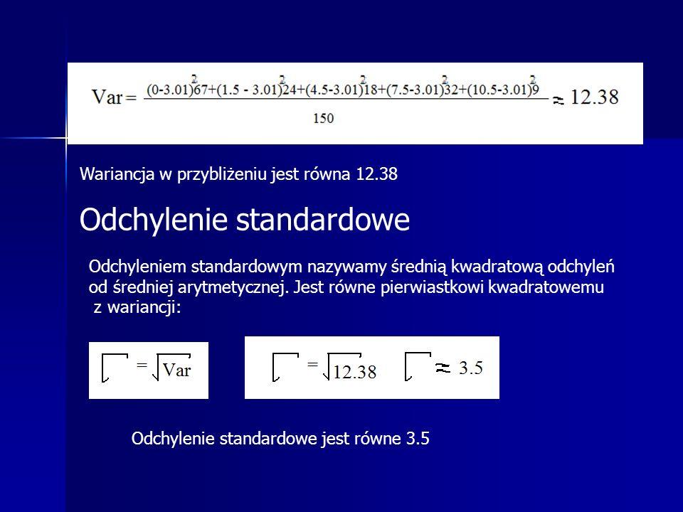 Wariancja w przybliżeniu jest równa 12.38 Odchylenie standardowe Odchyleniem standardowym nazywamy średnią kwadratową odchyleń od średniej arytmetycznej.