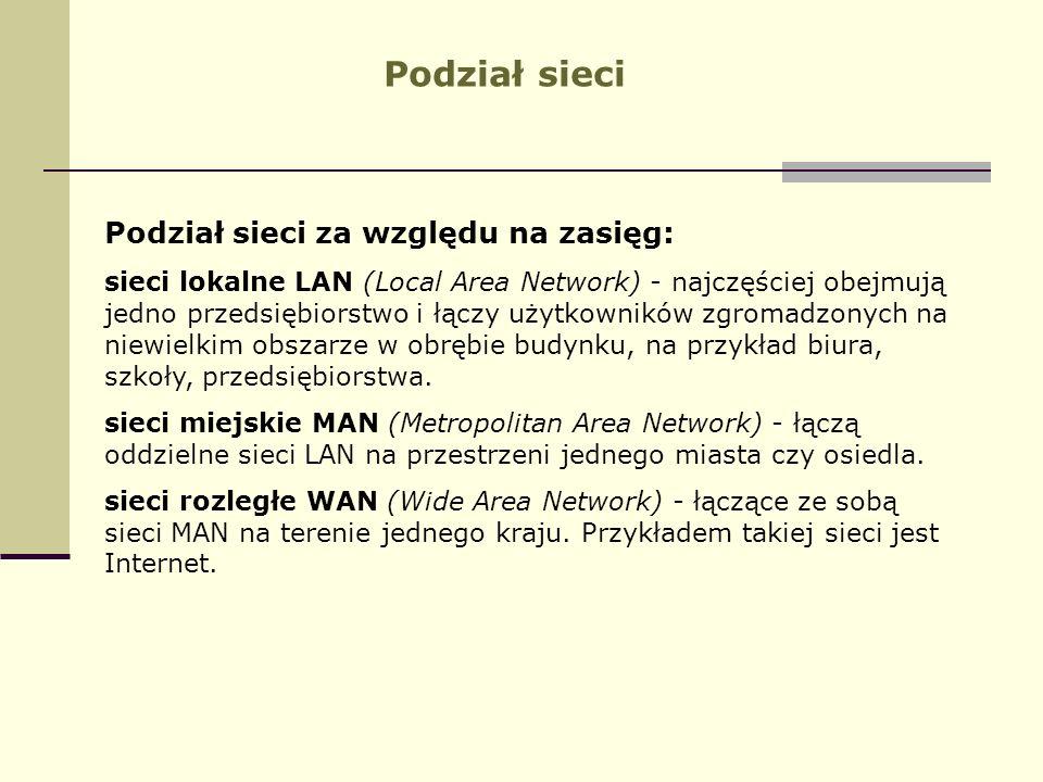 Podział sieci Podział sieci za względu na zasięg: sieci lokalne LAN (Local Area Network) - najczęściej obejmują jedno przedsiębiorstwo i łączy użytkow
