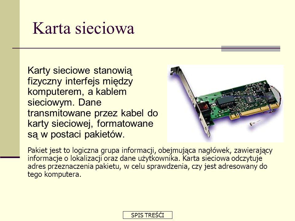 Karta sieciowa Funkcje kart sieciowych: Karty sieciowe stanowią fizyczny interfejs między komputerem, a kablem sieciowym. Dane transmitowane przez kab