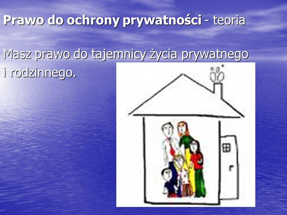 Prawo do ochrony prywatności - teoria Masz prawo do tajemnicy życia prywatnego i rodzinnego.