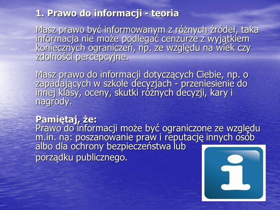 1. Prawo do informacji - teoria Masz prawo być informowanym z różnych źródeł, taka informacja nie może podlegać cenzurze z wyjątkiem koniecznych ogran