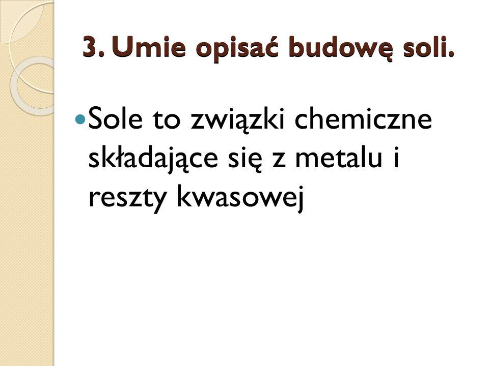 3. Umie opisać budowę soli. Sole to związki chemiczne składające się z metalu i reszty kwasowej