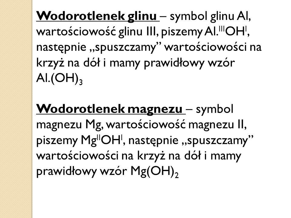 Wodorotlenek glinu – symbol glinu Al, wartościowość glinu III, piszemy Al.