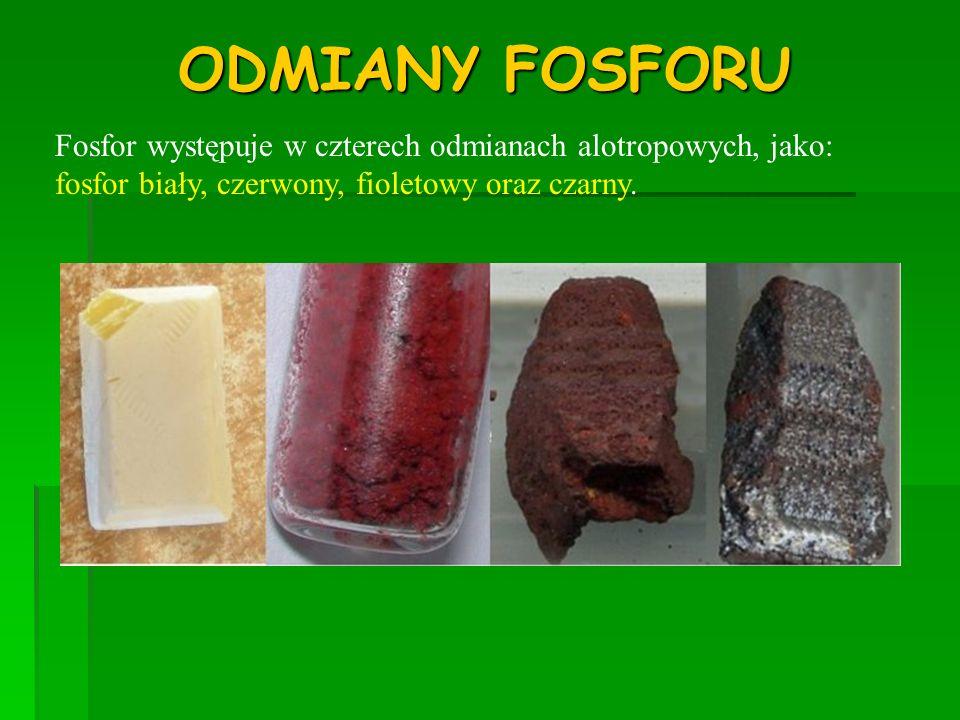 ZASTOSOWANIE FOSFORU * Tlenki fosforu używane są jako reduktory (P 4 O 6 ) lub substancje wysuszające.