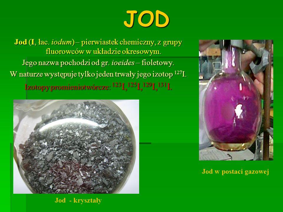 ZASTOSOWANIE JODU * Jod ma zastosowanie w produkcji barwników oraz w fotografice.