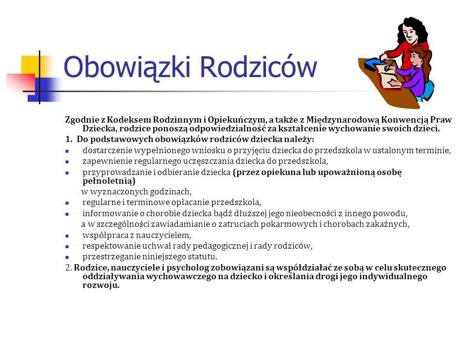 Obowiązki Rodziców Zgodnie z Kodeksem Rodzinnym i Opiekuńczym, a także z Międzynarodową Konwencją Praw Dziecka, rodzice ponoszą odpowiedzialność za ks