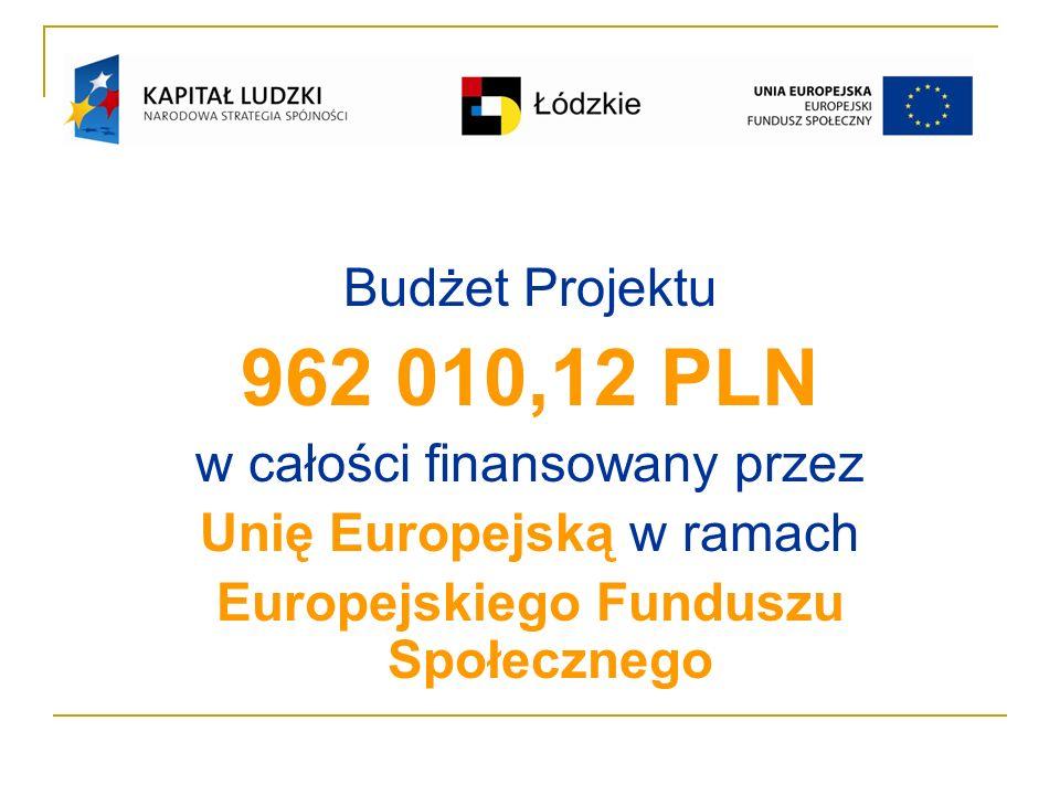 Budżet Projektu 962 010,12 PLN w całości finansowany przez Unię Europejską w ramach Europejskiego Funduszu Społecznego