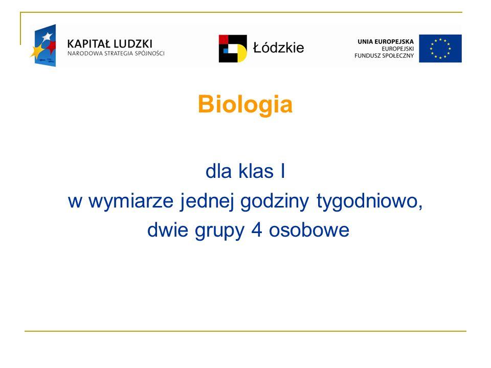 Biologia dla klas I w wymiarze jednej godziny tygodniowo, dwie grupy 4 osobowe