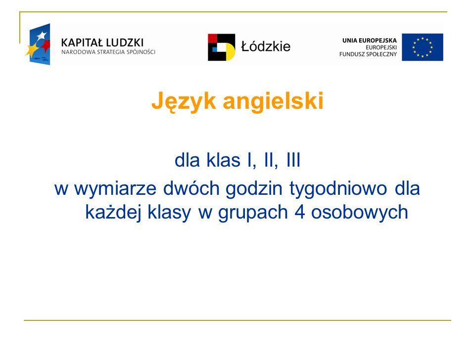 Język angielski dla klas I, II, III w wymiarze dwóch godzin tygodniowo dla każdej klasy w grupach 4 osobowych