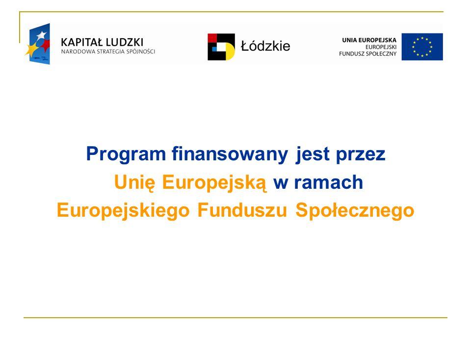 Program finansowany jest przez Unię Europejską w ramach Europejskiego Funduszu Społecznego