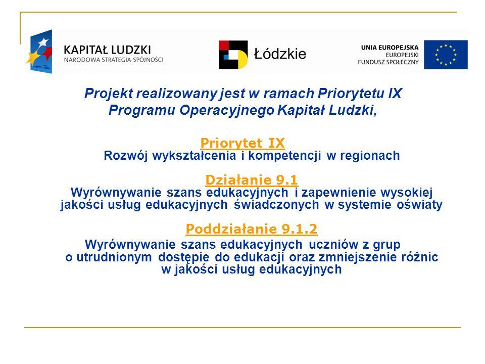Projekt realizowany jest w ramach Priorytetu IX Programu Operacyjnego Kapitał Ludzki, Priorytet IX Rozwój wykształcenia i kompetencji w regionach Działanie 9.1 Wyrównywanie szans edukacyjnych i zapewnienie wysokiej jakości usług edukacyjnych świadczonych w systemie oświaty Poddziałanie 9.1.2 Wyrównywanie szans edukacyjnych uczniów z grup o utrudnionym dostępie do edukacji oraz zmniejszenie różnic w jakości usług edukacyjnych
