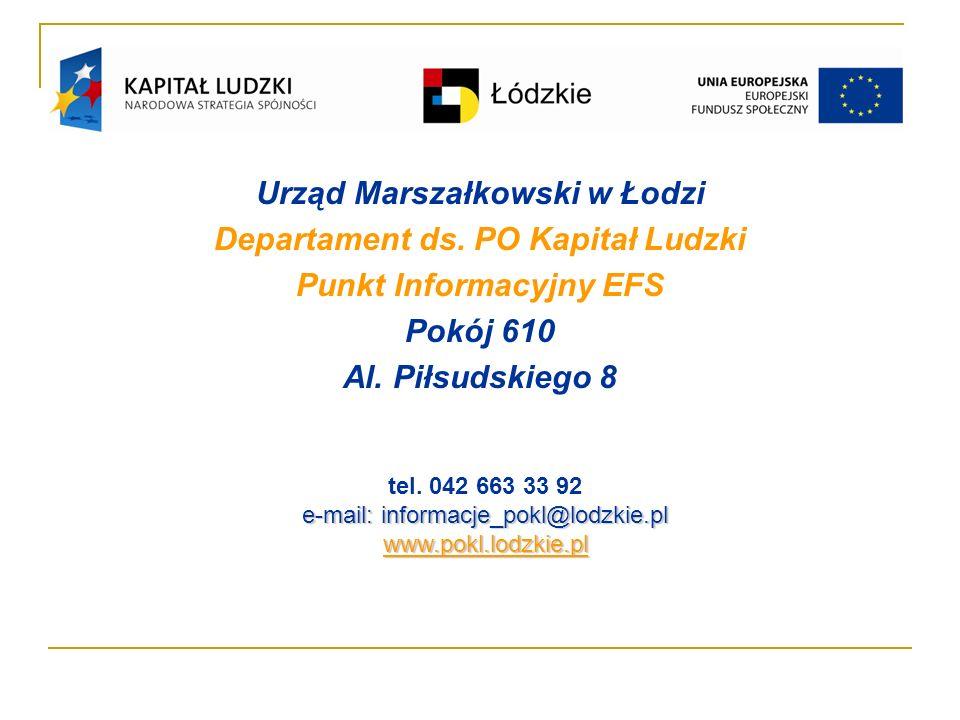 Urząd Marszałkowski w Łodzi Departament ds. PO Kapitał Ludzki Punkt Informacyjny EFS Pokój 610 Al.