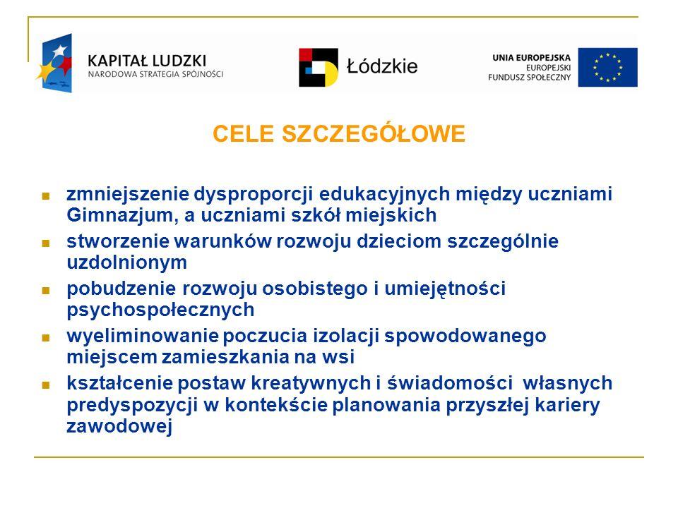 Realizatorem projektu RÓWNAJMY DO NAJLEPSZYCH jest Gmina Moszczenica a miejscem realizacji – Gimnazjum im.