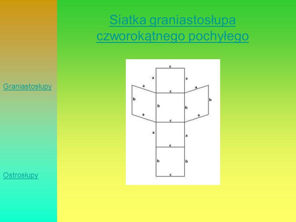 Siatka graniastosłupa czworokątnego pochyłego Graniastosłupy Ostrosłupy
