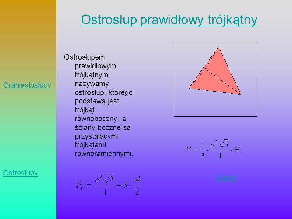 Ostrosłup prawidłowy trójkątny Ostrosłupem prawidłowym trójkątnym nazywamy ostrosłup, którego podstawą jest trójkąt równoboczny, a ściany boczne są pr