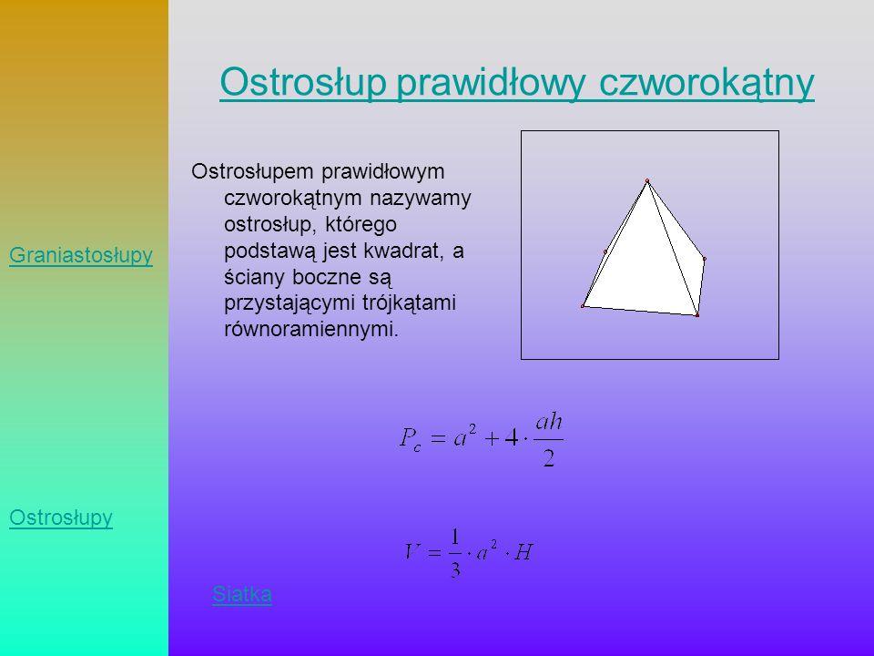 Ostrosłup prawidłowy czworokątny Ostrosłupem prawidłowym czworokątnym nazywamy ostrosłup, którego podstawą jest kwadrat, a ściany boczne są przystając