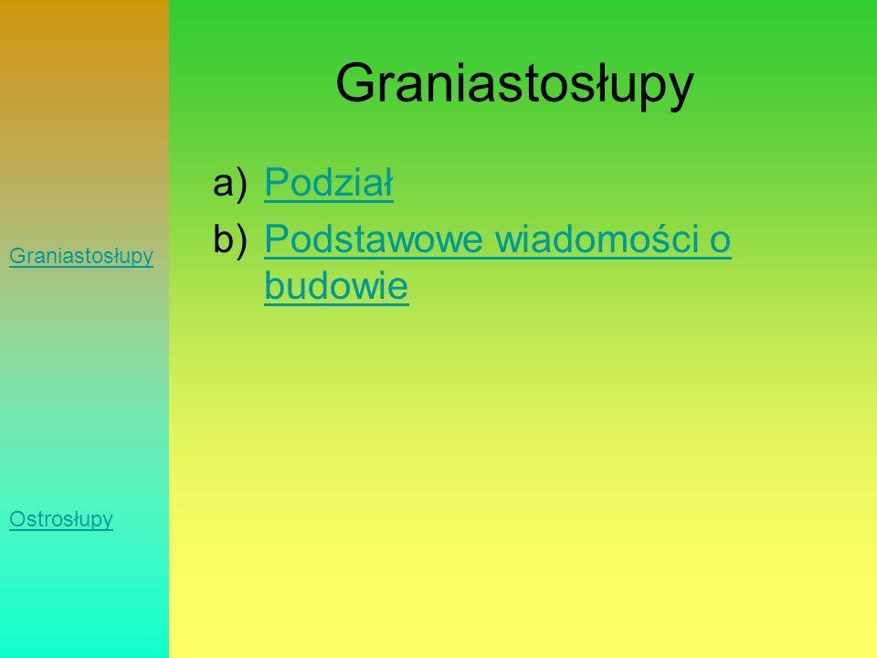 Podział graniastosłupów: a)ProsteProste b)PochyłePochyłe Graniastosłupy Ostrosłupy