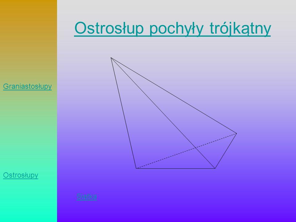 Ostrosłup pochyły trójkątny Siatka Graniastosłupy Ostrosłupy