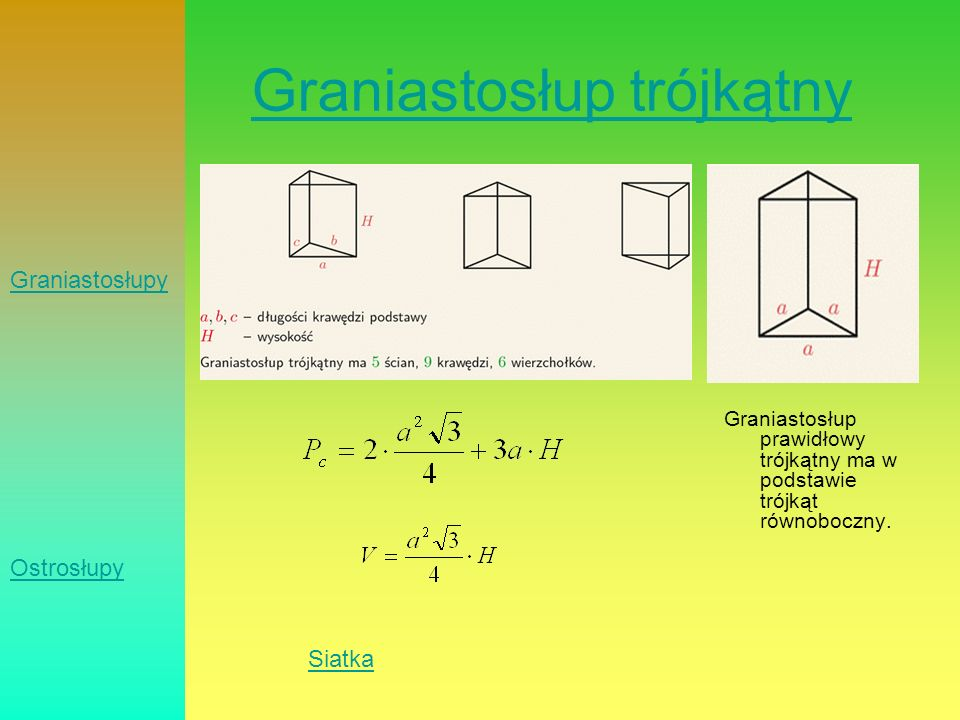 Siatka Graniastosłup trójkątny Graniastosłup prawidłowy trójkątny ma w podstawie trójkąt równoboczny. Graniastosłupy Ostrosłupy