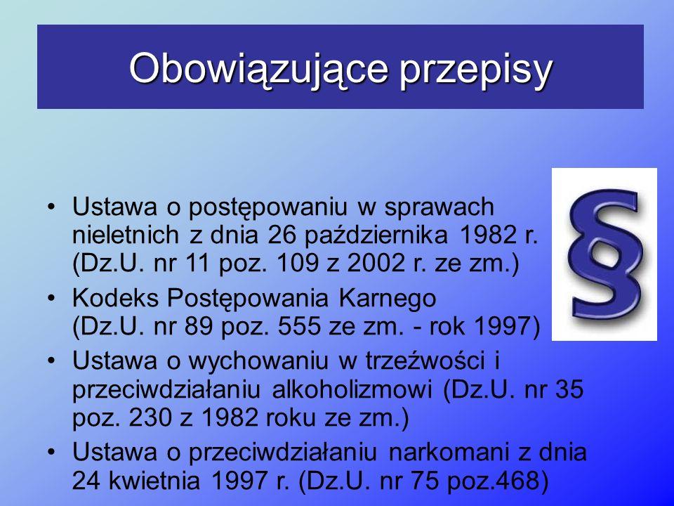 Obowiązujące przepisy Ustawa o postępowaniu w sprawach nieletnich z dnia 26 października 1982 r. (Dz.U. nr 11 poz. 109 z 2002 r. ze zm.) Kodeks Postęp