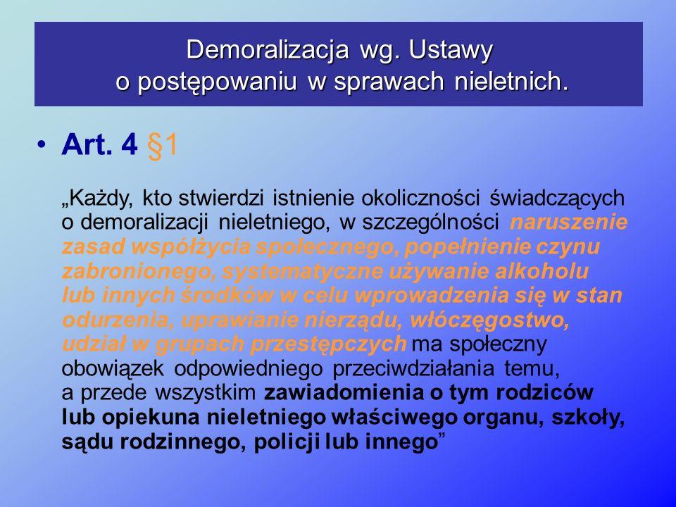Demoralizacja wg. Ustawy o postępowaniu w sprawach nieletnich. Art. 4 §1 Każdy, kto stwierdzi istnienie okoliczności świadczących o demoralizacji niel