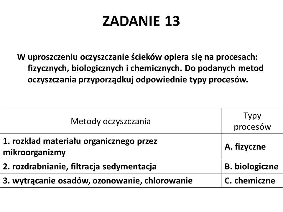 ZADANIE 13 W uproszczeniu oczyszczanie ścieków opiera się na procesach: fizycznych, biologicznych i chemicznych. Do podanych metod oczyszczania przypo