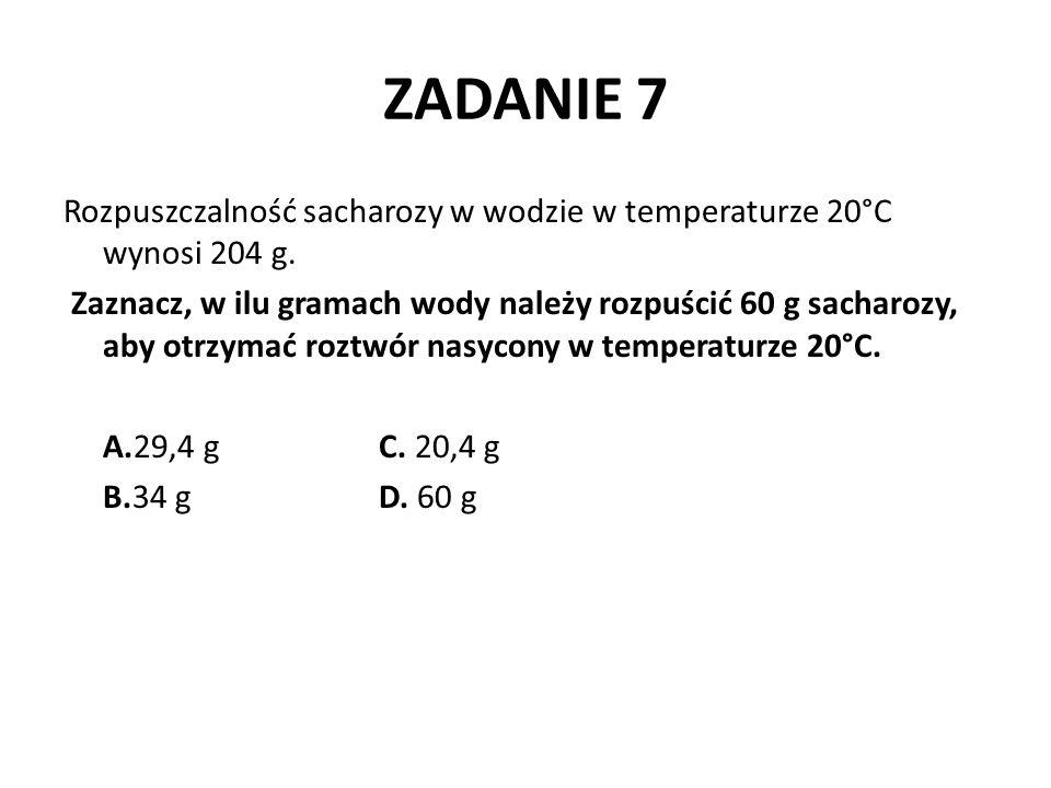 ZADANIE 8 Wiedząc, że w 100 g wody w temperaturze 20 o C rozpuszcza się maksymalnie 0,16 g wodorotlenku wapnia, oblicz maksymalną liczbę gramów Ca(OH) 2, jaką można rozpuścić w 0,5 l wody (gęstość wody d= 1 g/cm 3 ) o temperaturze 20 o C, aby otrzymać roztwór nasycony.